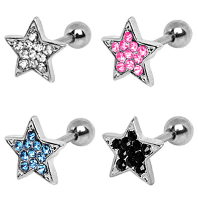 316L Surgical Steel Multi-Gem Star Cartilage Earring-WildKlass Jewelry
