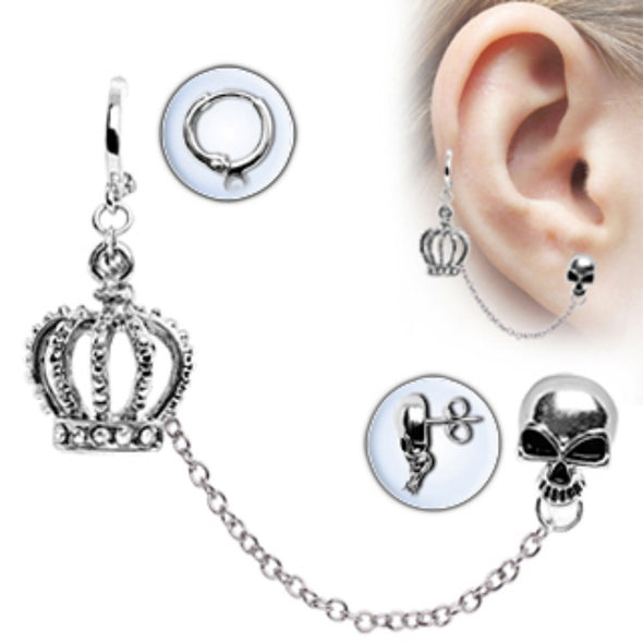 316L Surgical Steel Chained Crown & Skull Cartilage Earring-WildKlass Jewelry
