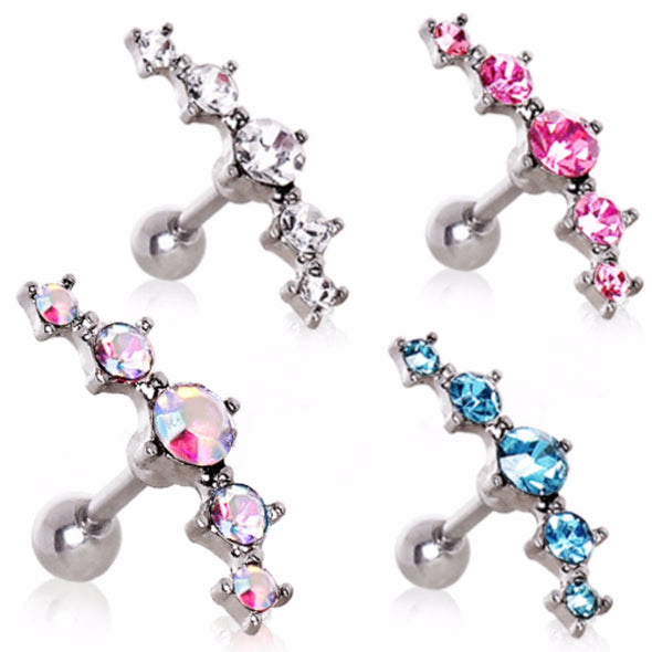 316L Surgical Steel Curved Five CZ Cartilage Earring-WildKlass Jewelry