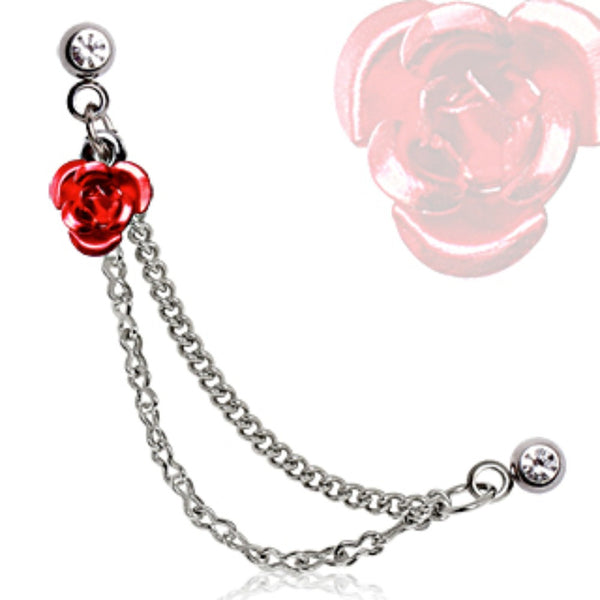 316L Surgical Steel Double Chained Cartilage Earring with Red Metal Rose-WildKlass Jewelry