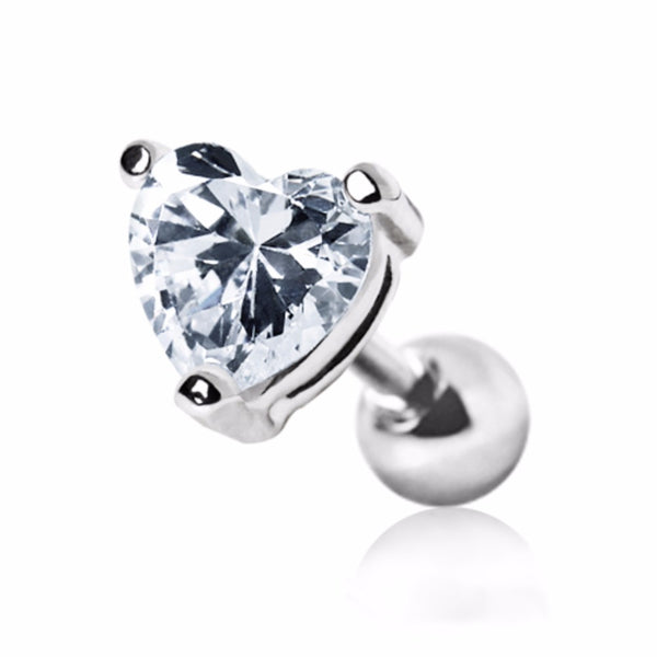 316L Surgical Steel Heart CZ Stud Cartilage Earring-WildKlass Jewelry