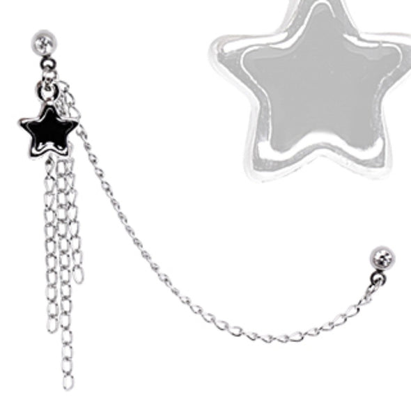 316L Surgical Steel Multi Chained Cartilage Earring with Black Star Dangle-WildKlass Jewelry