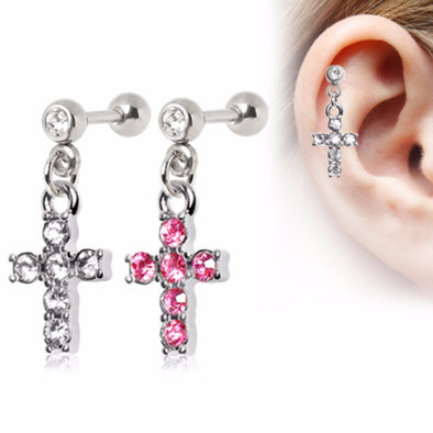316L Surgical Steel Multi CZ Cross Dangle Cartilage Earring-WildKlass Jewelry