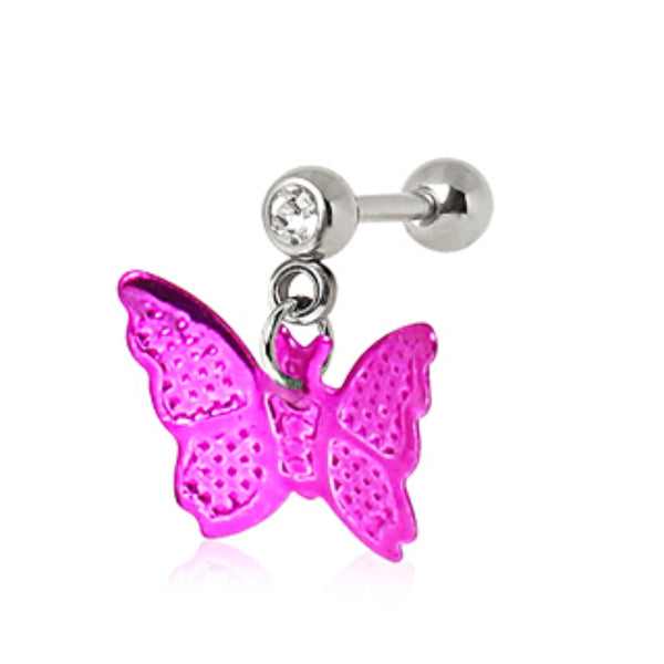 316L Surgical Steel Cartilage Earring with Hot Pink Butterfly Dangle-WildKlass Jewelry