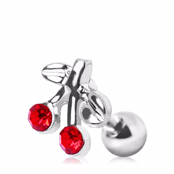 316L Surgical Steel Red CZ Cherry Cartilage Earring-WildKlass Jewelry