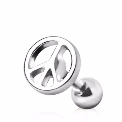 316L Surgical Steel Cartilage Earring with Peace Sign-WildKlass Jewelry