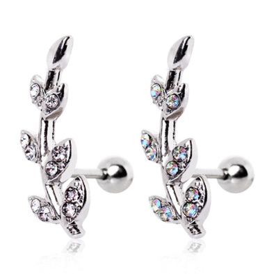 316L Surgical Steel Multi CZ Leaf Cartilage Earring-WildKlass Jewelry