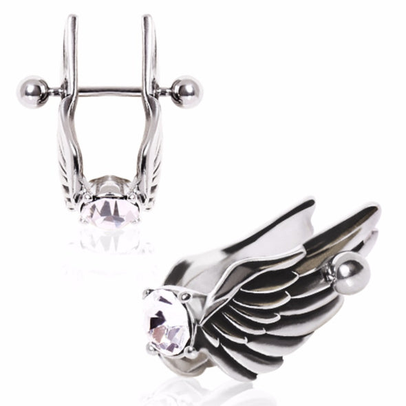 316L Surgical Steel Feathered Angel Wings with Gem Cartilage Earring-WildKlass Jewelry