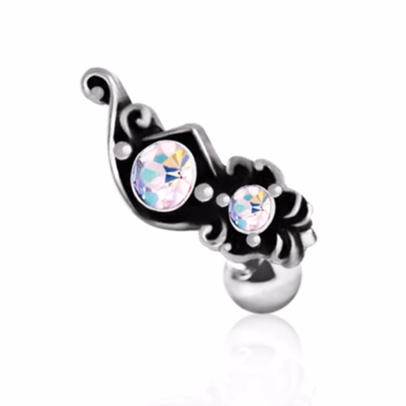 316L Surgical Steel Ornate Aurora Borealis Cartilage Earring-WildKlass Jewelry
