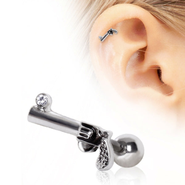 316L Surgical Steel Revolver Gun Cartilage Earring-WildKlass Jewelry
