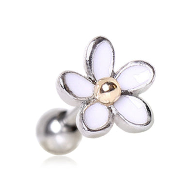 316L Surgical Steel Sweet White Daisy Cartilage Earring-WildKlass Jewelry