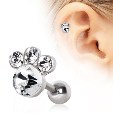316L Surgical Steel Gemmed Animal Paw Cartilage Earring-WildKlass Jewelry