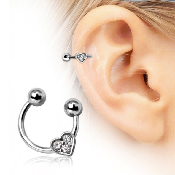 316L Surgical Steel Horseshoe Cartilage Earring with Gemmed Heart-WildKlass Jewelry