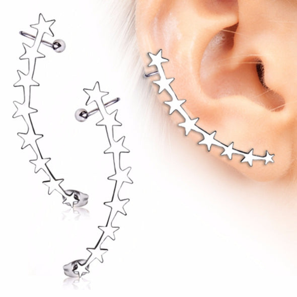 316L Surgical Steel Descending Stars Crescent Cartilage Earring-WildKlass Jewelry