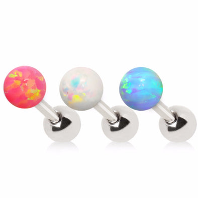 316L Stainless Steel Synthetic Opal Ball Cartilage Earring-WildKlass Jewelry