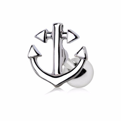 316L Stainless Steel Nautical Anchor Cartilage Earring-WildKlass Jewelry