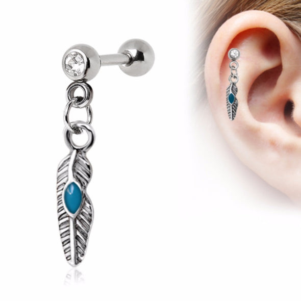 316L Stainless Steel Tribal Feather Cartilage Earring-WildKlass Jewelry