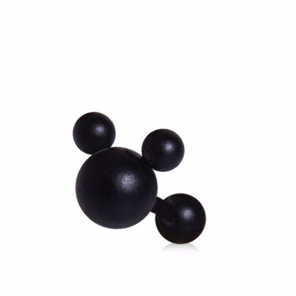 Matte Black Mouse Ears Cartilage Earring-WildKlass Jewelry