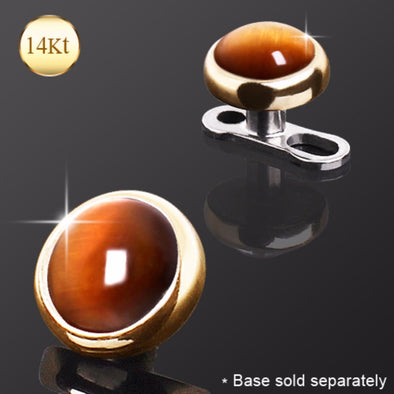 14Kt Yellow Gold Round Dermal Top with Tiger Eye Stone-WildKlass Jewelry