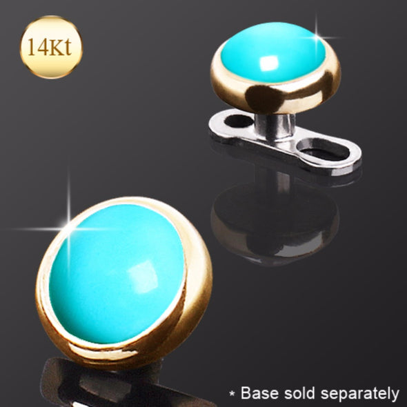 14Kt Yellow Gold Round Dermal Top with Turquoise Color Stone-WildKlass Jewelry