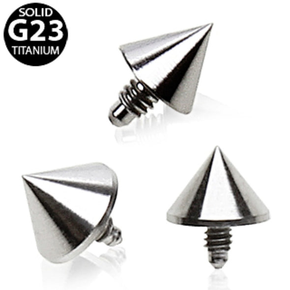 Grade 23 Titanium Internally Threaded Spike Dermal Top-WildKlass Jewelry