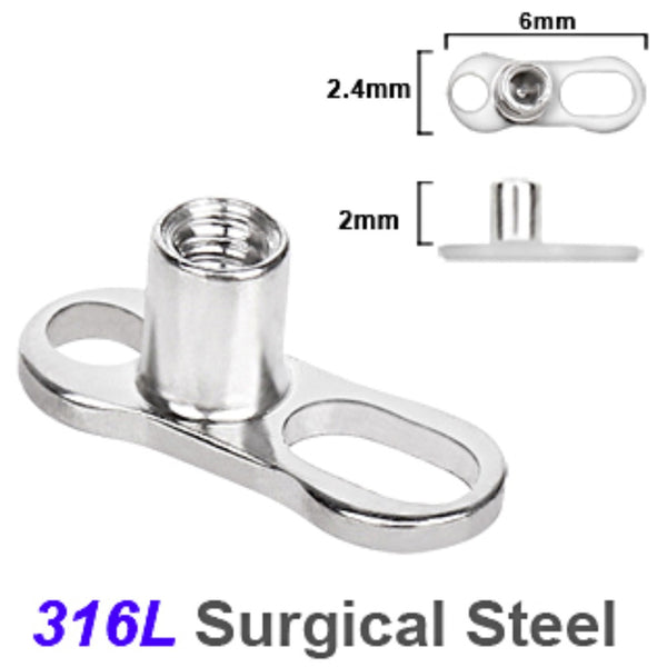316L Surgical Steel Dermal Anchor - 2 Hole / 2mm Rise-WildKlass Jewelry