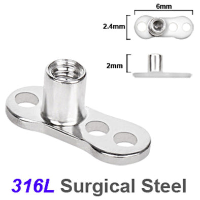 316L Surgical Steel Dermal Anchor - 3 Hole / 2mm Rise-WildKlass Jewelry