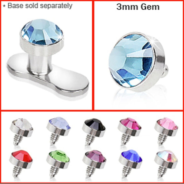 316L Surgical Steel 3mm Flat Dermal Top with Gem-WildKlass Jewelry