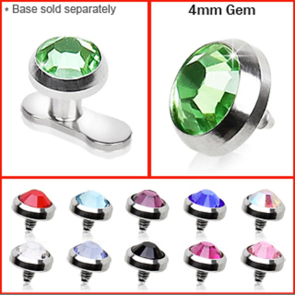 316L Surgical Steel 4mm Flat Dermal Top with Gem-WildKlass Jewelry