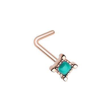 WILDKLASS Rose Gold Arabian Princess L-Shape Nose Ring-WildKlass Jewelry