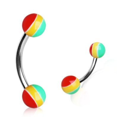 316L Surgical Steel Curved Barbell with UV Rasta Balls-WildKlass Jewelry
