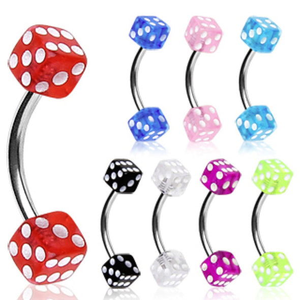 316L Surgical Steel Curved Barbell / Eyebrow Ring with UV Coated Acrylic Dice Balls-WildKlass Jewelry