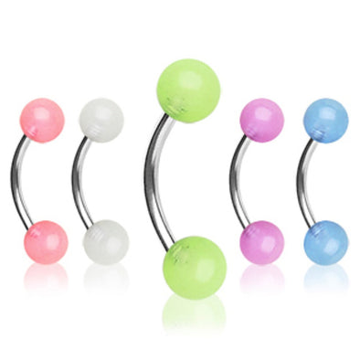 316L Surgical Steel Curved Barbell / Eyebrow Ring with Glow in the Dark Balls-WildKlass Jewelry