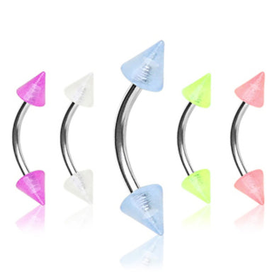316L Surgical Steel Curved Barbell / Eyebrow Ring with Glow in the Dark Spikes-WildKlass Jewelry