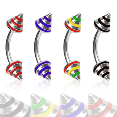 316L Surgical Steel Eyebrow Ring with 3 Striped Spikes-WildKlass Jewelry
