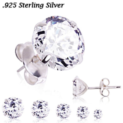Pair of Stainless Steel Clear Round CZ Stud Earrings-WildKlass Jewelry