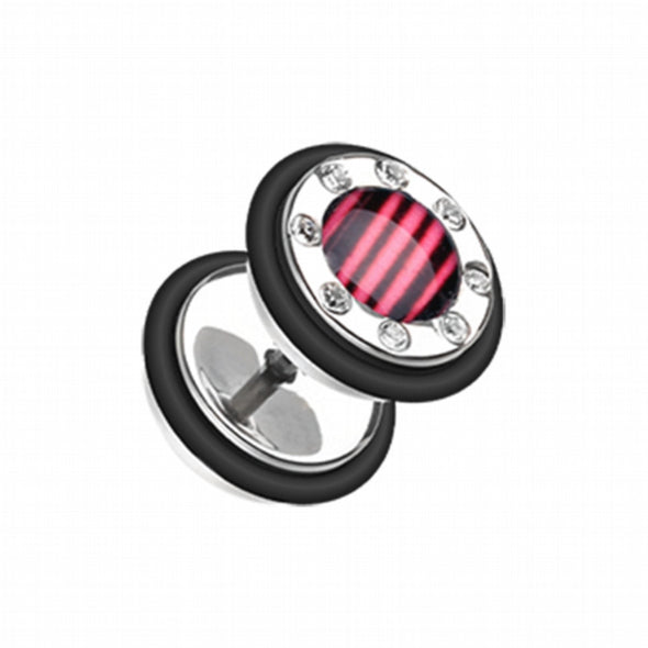 Stripe Gem Rimmed Steel Fake Plug-WildKlass Jewelry