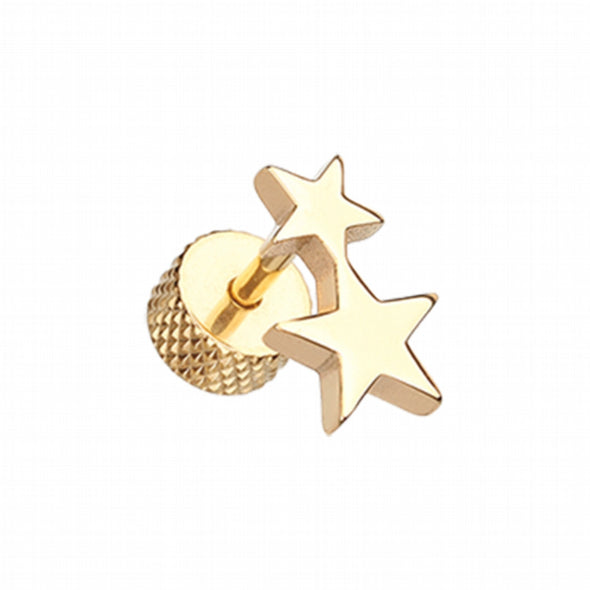 Golden Double Star Steel Fake Plug-WildKlass Jewelry