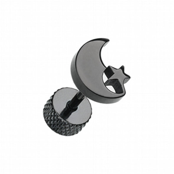 Blackline Crescent Moon & Star Steel Fake Plug-WildKlass Jewelry