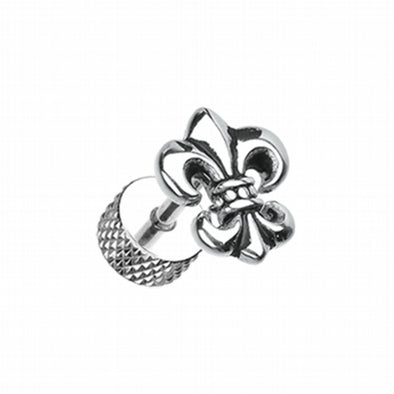 Fleur De Lis Steel Fake Plug-WildKlass Jewelry