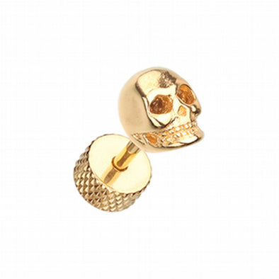 Golden Death Skull Steel Fake Plug-WildKlass Jewelry