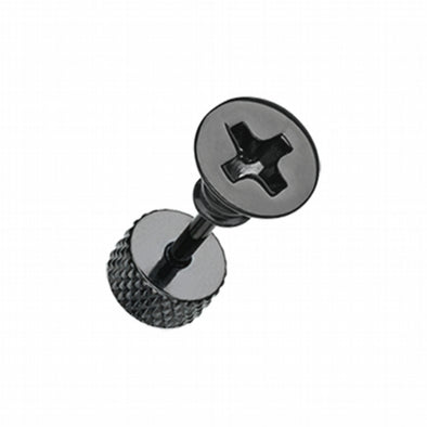 Blackline Screw Bolt Top Steel Fake Plug-WildKlass Jewelry