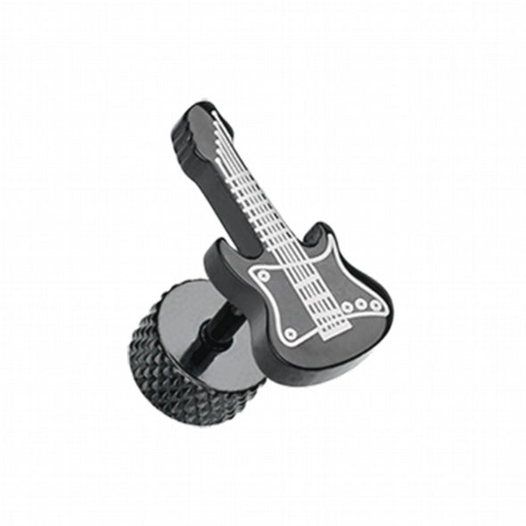 Blackline Rockstar Guitar Steel Fake Plug-WildKlass Jewelry