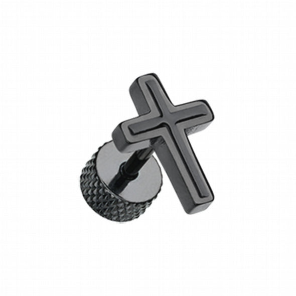 Blackline Cross Embossed Steel Fake Plug-WildKlass Jewelry