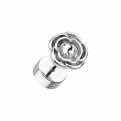 Rose Blossom Steel Fake Plug-WildKlass Jewelry