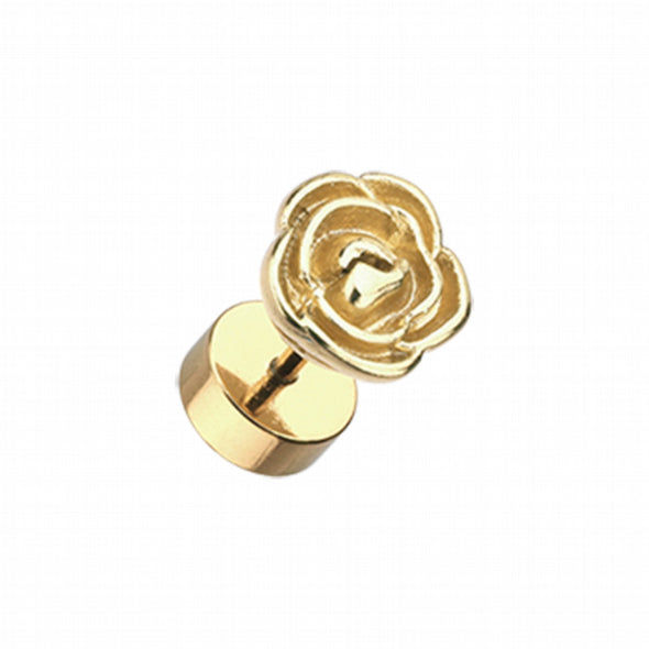 Golden Rose Blossom Steel Fake Plug-WildKlass Jewelry