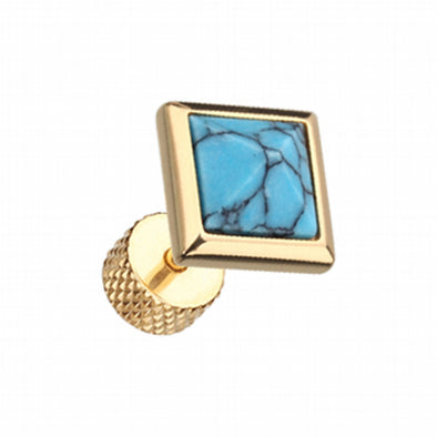 Golden Square Turquoise Pyramid Stone Steel Fake Plug-WildKlass Jewelry