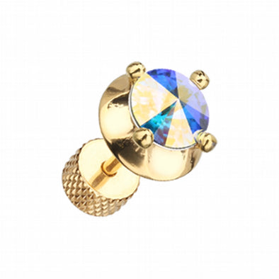 Golden Spacer Saucer Crystal Steel Fake Plug-WildKlass Jewelry