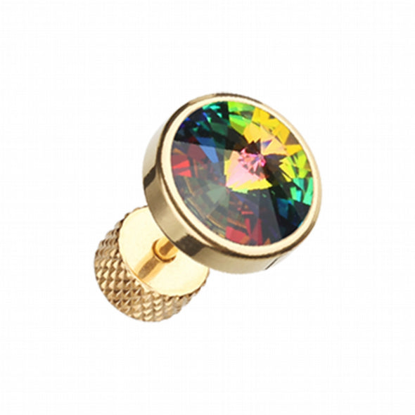 Golden Pointy Faceted Crystal Steel Fake Plug-WildKlass Jewelry