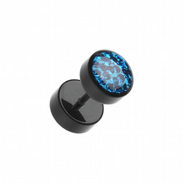 Multi-Sprinkle Dot Multi Gem Black UV Fake Plug-WildKlass Jewelry
